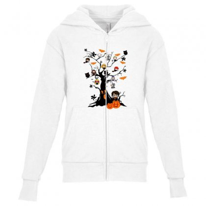 Halloween Harry Potter Tree Funny Youth Zipper Hoodie Designed By Pinkanzee