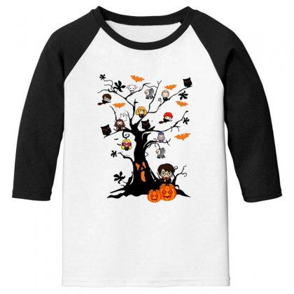 Halloween Harry Potter Tree Funny Youth 3/4 Sleeve Designed By Pinkanzee