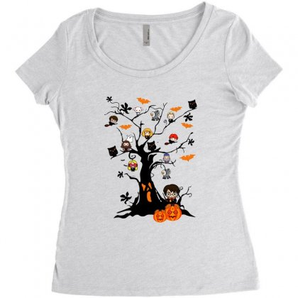 Halloween Harry Potter Tree Funny Women's Triblend Scoop T-shirt Designed By Pinkanzee