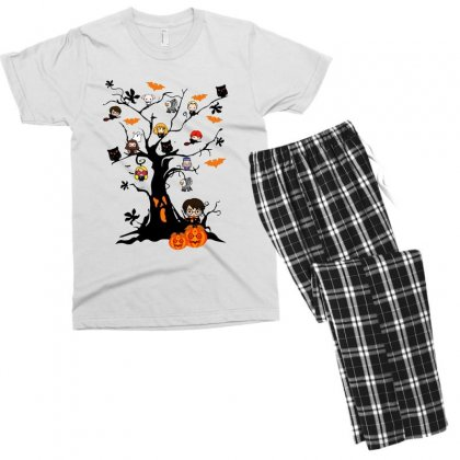 Halloween Harry Potter Tree Funny Men's T-shirt Pajama Set Designed By Pinkanzee
