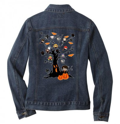 Halloween Harry Potter Tree Funny Ladies Denim Jacket Designed By Pinkanzee