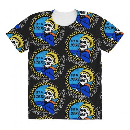 Get In Losers Skull We're Saving Halloween Town All Over Women's T-shirt Designed By Pinkanzee
