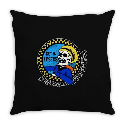 Get In Losers Skull We're Saving Halloween Town Throw Pillow Designed By Pinkanzee