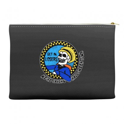 Get In Losers Skull We're Saving Halloween Town Accessory Pouches Designed By Pinkanzee
