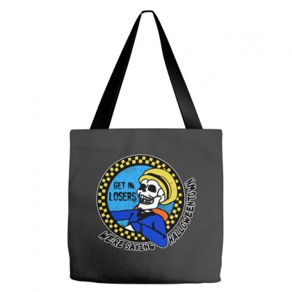 Get In Losers Skull We're Saving Halloween Town Tote Bags Designed By Pinkanzee