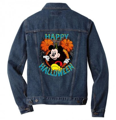 Funny Mickey Mouse Pumpkin Happy Halloween Men Denim Jacket Designed By Pinkanzee