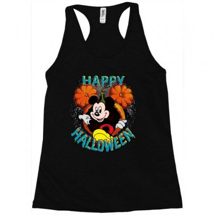 Funny Mickey Mouse Pumpkin Happy Halloween Racerback Tank Designed By Pinkanzee