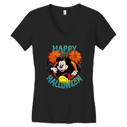 Funny Mickey Mouse Pumpkin Happy Halloween Women's V-neck T-shirt Designed By Pinkanzee