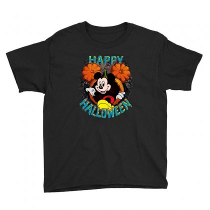 Funny Mickey Mouse Pumpkin Happy Halloween Youth Tee Designed By Pinkanzee