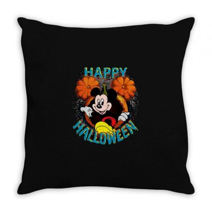 Funny Mickey Mouse Pumpkin Happy Halloween Throw Pillow Designed By Pinkanzee