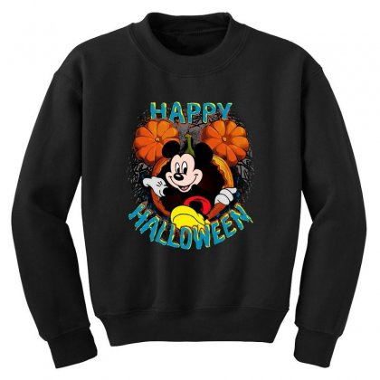 Funny Mickey Mouse Pumpkin Happy Halloween Youth Sweatshirt Designed By Pinkanzee