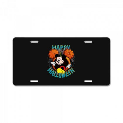 Funny Mickey Mouse Pumpkin Happy Halloween License Plate Designed By Pinkanzee