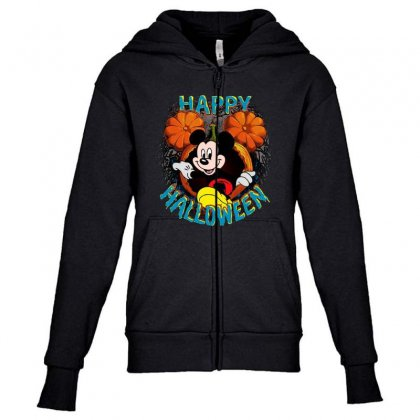 Funny Mickey Mouse Pumpkin Happy Halloween Youth Zipper Hoodie Designed By Pinkanzee