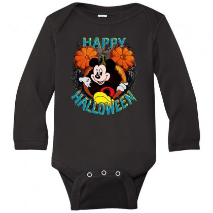 Funny Mickey Mouse Pumpkin Happy Halloween Long Sleeve Baby Bodysuit Designed By Pinkanzee