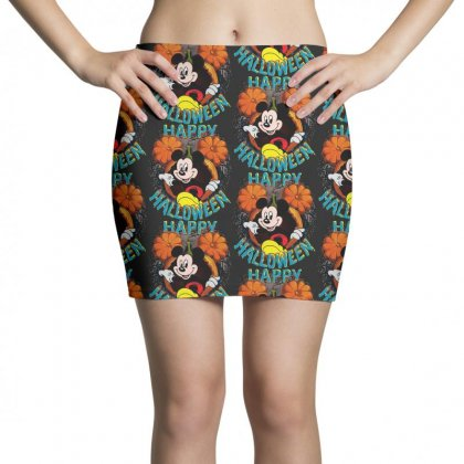 Funny Mickey Mouse Pumpkin Happy Halloween Mini Skirts Designed By Pinkanzee