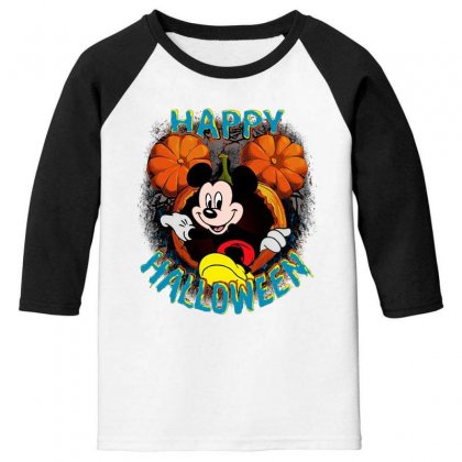 Funny Mickey Mouse Pumpkin Happy Halloween Youth 3/4 Sleeve Designed By Pinkanzee