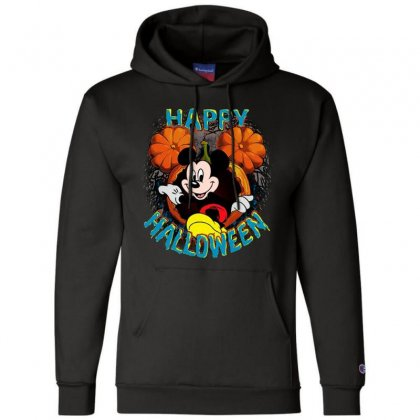 Funny Mickey Mouse Pumpkin Happy Halloween Champion Hoodie Designed By Pinkanzee