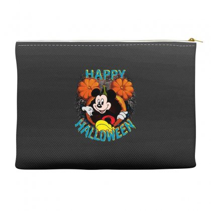 Funny Mickey Mouse Pumpkin Happy Halloween Accessory Pouches Designed By Pinkanzee