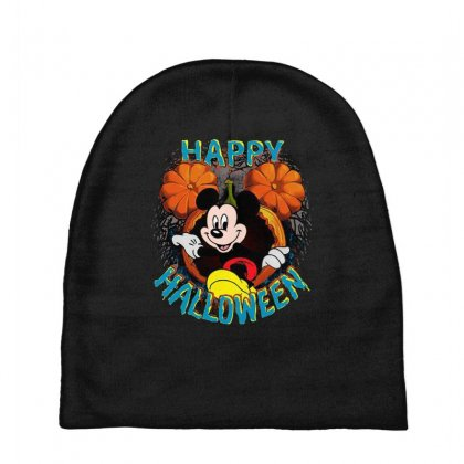 Funny Mickey Mouse Pumpkin Happy Halloween Baby Beanies Designed By Pinkanzee
