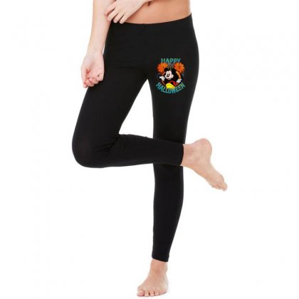 Funny Mickey Mouse Pumpkin Happy Halloween Legging Designed By Pinkanzee