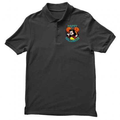 Funny Mickey Mouse Pumpkin Happy Halloween Men's Polo Shirt Designed By Pinkanzee