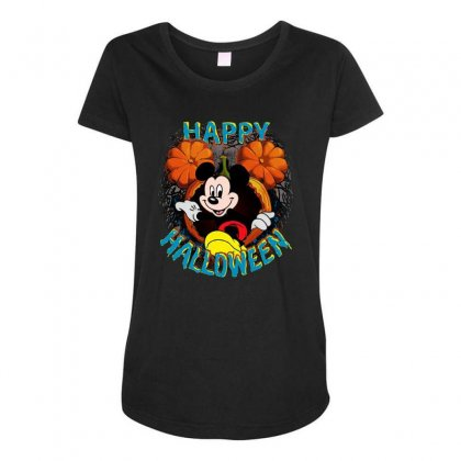Funny Mickey Mouse Pumpkin Happy Halloween Maternity Scoop Neck T-shirt Designed By Pinkanzee