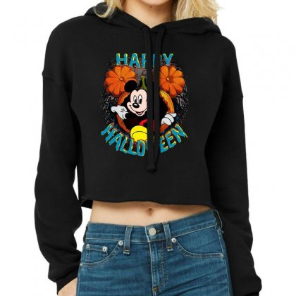 Funny Mickey Mouse Pumpkin Happy Halloween Cropped Hoodie Designed By Pinkanzee