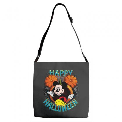 Funny Mickey Mouse Pumpkin Happy Halloween Adjustable Strap Totes Designed By Pinkanzee
