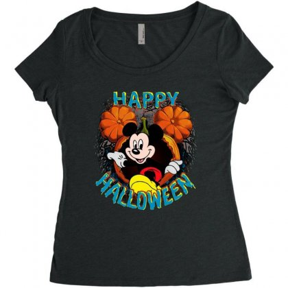 Funny Mickey Mouse Pumpkin Happy Halloween Women's Triblend Scoop T-shirt Designed By Pinkanzee