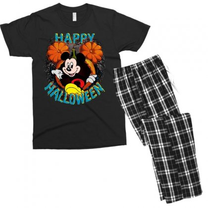 Funny Mickey Mouse Pumpkin Happy Halloween Men's T-shirt Pajama Set Designed By Pinkanzee