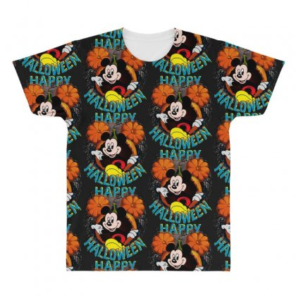 Funny Mickey Mouse Pumpkin Happy Halloween All Over Men's T-shirt Designed By Pinkanzee