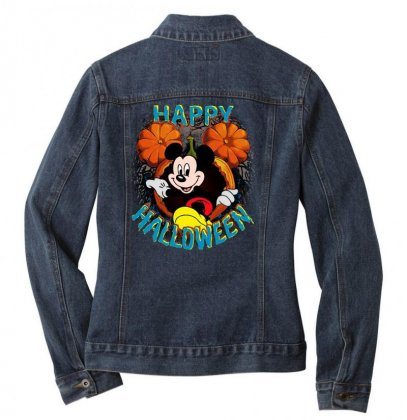 Funny Mickey Mouse Pumpkin Happy Halloween Ladies Denim Jacket Designed By Pinkanzee