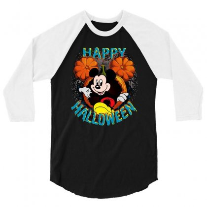 Funny Mickey Mouse Pumpkin Happy Halloween 3/4 Sleeve Shirt Designed By Pinkanzee