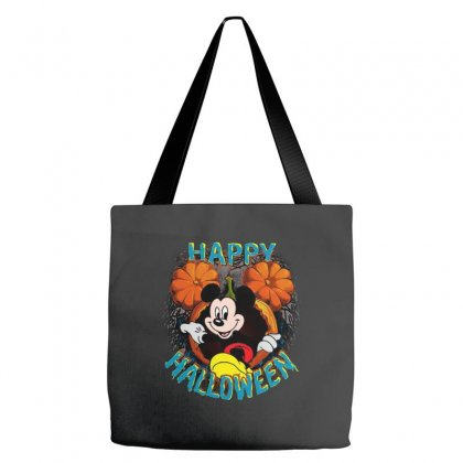 Funny Mickey Mouse Pumpkin Happy Halloween Tote Bags Designed By Pinkanzee