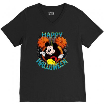 Funny Mickey Mouse Pumpkin Happy Halloween V-neck Tee Designed By Pinkanzee