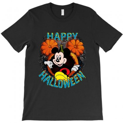 Funny Mickey Mouse Pumpkin Happy Halloween T-shirt Designed By Pinkanzee