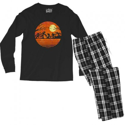 Funny Halloween Walk Under The Moon   Funny Mickey Mouse And Friends T Men's Long Sleeve Pajama Set Designed By Pinkanzee