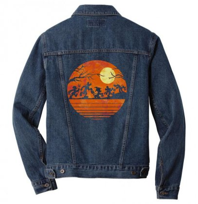 Funny Halloween Walk Under The Moon   Funny Mickey Mouse And Friends T Men Denim Jacket Designed By Pinkanzee