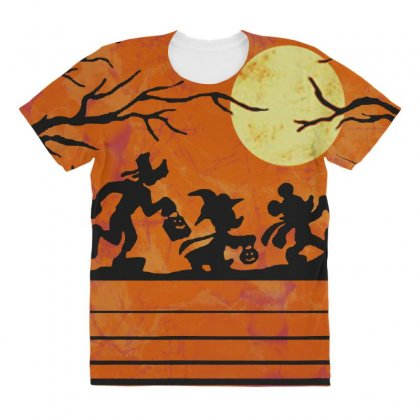 Funny Halloween Walk Under The Moon   Funny Mickey Mouse And Friends T All Over Women's T-shirt Designed By Pinkanzee