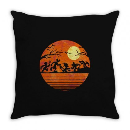 Funny Halloween Walk Under The Moon   Funny Mickey Mouse And Friends T Throw Pillow Designed By Pinkanzee
