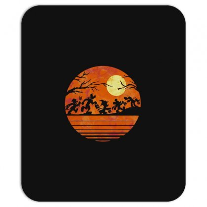 Funny Halloween Walk Under The Moon   Funny Mickey Mouse And Friends T Mousepad Designed By Pinkanzee