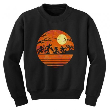 Funny Halloween Walk Under The Moon   Funny Mickey Mouse And Friends T Youth Sweatshirt Designed By Pinkanzee