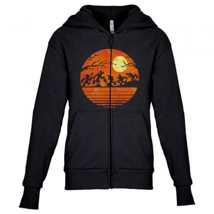 Funny Halloween Walk Under The Moon   Funny Mickey Mouse And Friends T Youth Zipper Hoodie Designed By Pinkanzee