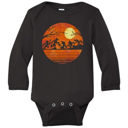 Funny Halloween Walk Under The Moon   Funny Mickey Mouse And Friends T Long Sleeve Baby Bodysuit Designed By Pinkanzee