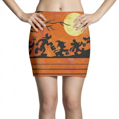 Funny Halloween Walk Under The Moon   Funny Mickey Mouse And Friends T Mini Skirts Designed By Pinkanzee