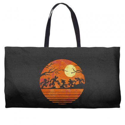Funny Halloween Walk Under The Moon   Funny Mickey Mouse And Friends T Weekender Totes Designed By Pinkanzee