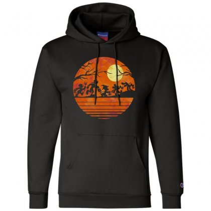 Funny Halloween Walk Under The Moon   Funny Mickey Mouse And Friends T Champion Hoodie Designed By Pinkanzee