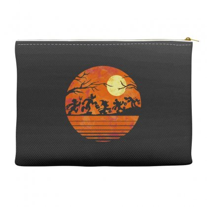 Funny Halloween Walk Under The Moon   Funny Mickey Mouse And Friends T Accessory Pouches Designed By Pinkanzee