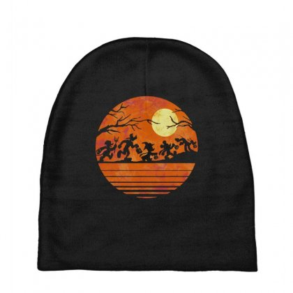 Funny Halloween Walk Under The Moon   Funny Mickey Mouse And Friends T Baby Beanies Designed By Pinkanzee