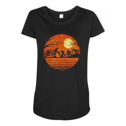 Funny Halloween Walk Under The Moon   Funny Mickey Mouse And Friends T Maternity Scoop Neck T-shirt Designed By Pinkanzee